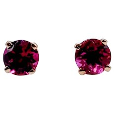 Precision Cut Round Amethyst Stud Earrings 14k