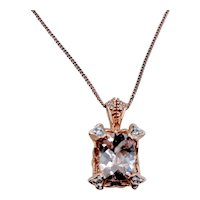 Cushion Cut Morganite and Diamond Pendant in 14k Rose Gold