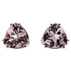9mm Trillion Morganite Stud Earrings 14ky