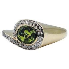 Unique Peridot & Diamond Ring!