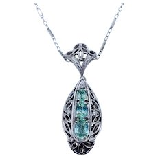 Blue/Green Tourmaline & Diamond Pendant W/Chain