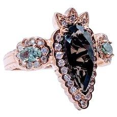 Smokey Quartz & Topaz Diamond Accent Ring