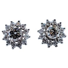 Diamond Halo Jackets for Stud Earrings 3/8ctw 14kw