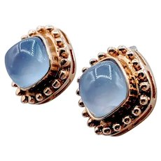 Vintage Blue Chalcedony Stud Earrings