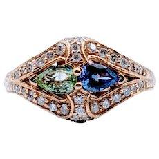 Beautiful Tanzanite, Tourmaline & Diamond Ring!