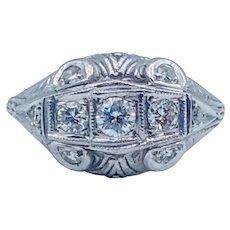 Vintage Diamond Ring Platinum .40ctw