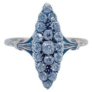 Antique Marquise Shaped Diamond Cocktail Ring 18k