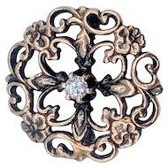 Victorian Diamond Pin/Brooch w/Scroll and Flower Motif