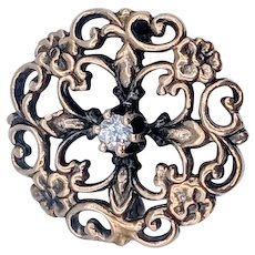 Victorian Diamond Pin/Brooch w/Scroll and Flower Motif