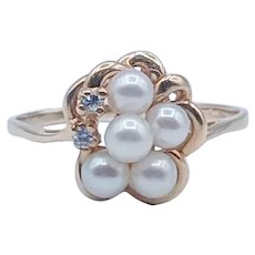 Floral Pearl and Diamond Ring 14k