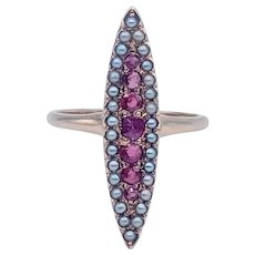 Antique Victorian Pink Tourmaline and Seed Pearl Ring