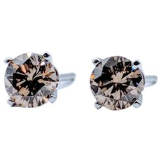 1.00ctw Champagne Diamond Stud Earrings
