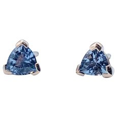 Trillion Shape Tanzanite Stud Earrings