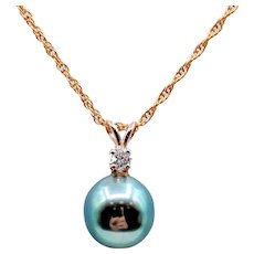 Tahitian Pearl & Diamond Drop Pendant