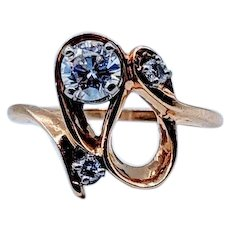 Swirl Vintage Diamond Ring .35ctw 14k