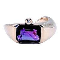 Custom Vintage Amethyst and Diamond Ring 14ky