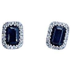 Beautiful Dark Blue Sapphire & Diamond Halo Stud Earrings