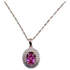 Stunning Pink Sapphire & Diamond Necklace