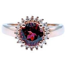 14kt Garnet & Diamond Halo Ring
