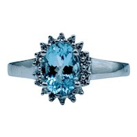 Beautiful Aquamarine & Diamond Halo Ring