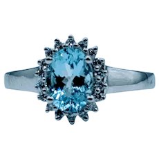 Beautiful Aquamarine & Diamond Halo Ring