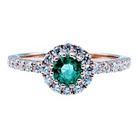 14kt Emerald & Diamond Halo Ring