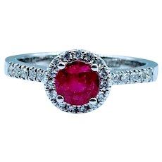 14kt Ruby & Diamond Halo Ring