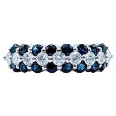 Triple Row Sapphire & Diamond Ring