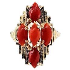Vintage Brutalist Cocktail Ring - Red Coral & 14K Gold