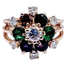 Unique & Colorful Multi-Gemstone + Diamond Ring