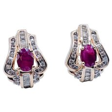 Stunning Omega Back Ruby & Diamond Earrings!