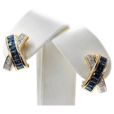 "LeVian Diamond, Sapphire & 18K Gold ""X"" Earrings"
