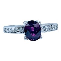 Stunning Rhodolite Garnet & Diamond Ring