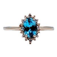 Dainty Swiss Blue and Diamond Ring