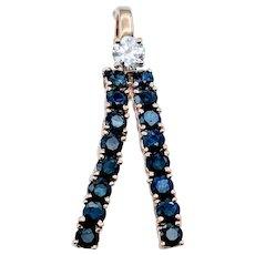 Custom Sapphire and Diamond Pendant Slide 14ky