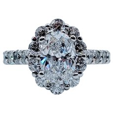 Stunning 1.71ct Oval Diamond Engagement Ring W/Halo!