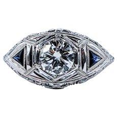 Splendid Art Deco Diamond & Sapphire Ring