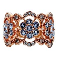 Beautiful Tanzanite and Diamond Wide Filigree Ring
