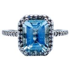 Silver Blue Aquamarine and Diamond Halo Ring 14k
