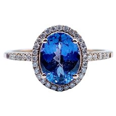 Deep Purple Blue Tanzanite Ring w/Diamond Halo