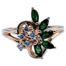 Deep Green Emerald and Diamond Ring 14k