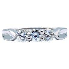 Platinum 1/2ctw 3 Stone Shared Prong Diamond Ring