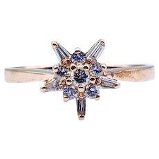 Cute Diamond Starburst Ring 14k