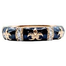 Hidalgo Le Fleur Blue Enamel and Diamond Ring 18k