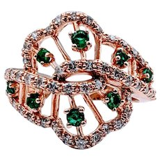 Stunning Rose Gold Emerald and Diamond Ring