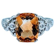 18kt Citrine & Diamond Ring