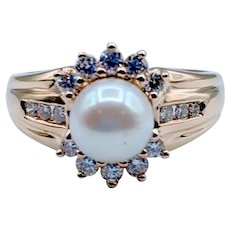 Classic Pearl and Diamond Ring 14k