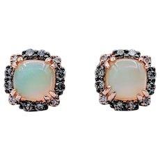 Retired LeVian Opal And Diamond Earring 14k Rose Gold