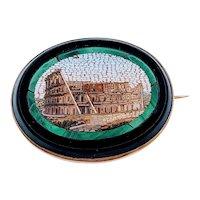 Vintage Micro Mosaic Colosseum Brooch/Pin 14k