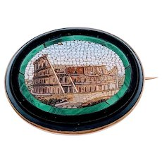 Vintage Micro Mosaic Colosseum Brooch/Pin 14k